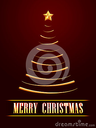 frohe weihnachten und goldener weihnachtsbaum ber rotem. Black Bedroom Furniture Sets. Home Design Ideas