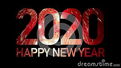 2020 Frohes neues Jahr mit echtem Feuerwerk, das die Füllung von gefeierten Rahmen explodiert und nahtlos abstrakte Rupenlicht stock footage