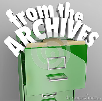 Free From The Archives File Cabinet Retrieve Historical Records Royalty Free Stock Photo - 33298895