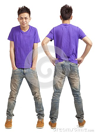 Front and back of asian young man