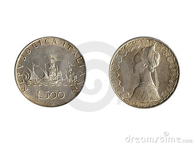 Front back italian coin