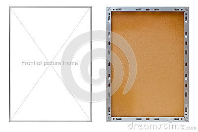 Front and back of metal picture frame