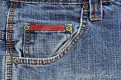 Front blue jeans pocket