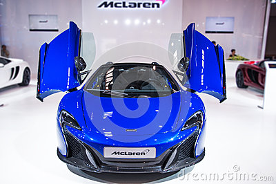 Front of blue Mclaren Roadster Editorial Photography