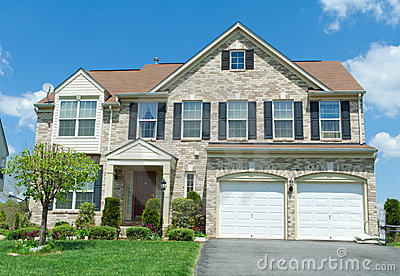 Front Brick Faced Single Family House Suburban Md Stock