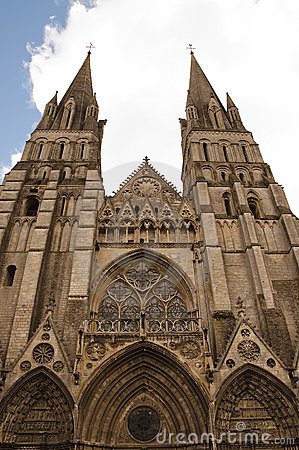 Front of cathedral Notre Dame de Bayeux, France