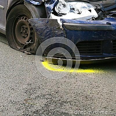 Front of crashed car