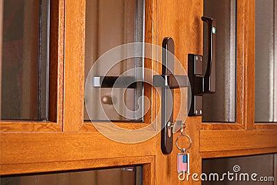 Front door with key.