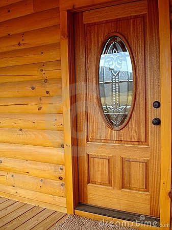 Free Front Door Log Cabin Royalty Free Stock Image - 4101336