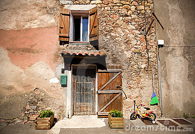 Front door of a mediterranean village house Stock Photo