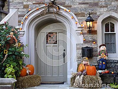 Front door with pumpkins