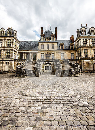 Front facade of Fontainebleau palace, France