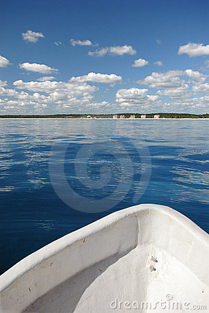 Front of fishing boat on water