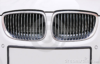 Front grill of BMW white car