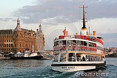 Ferry BARIS MANCO sails into Haydarpasa Editorial Stock Photo