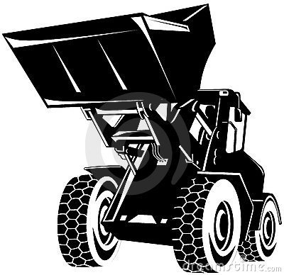 Free Front Loader Black And White Royalty Free Stock Photography - 4273767