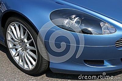 Front of modern sports car headlight
