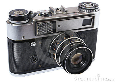Front of old  photo camera. Isometric view.