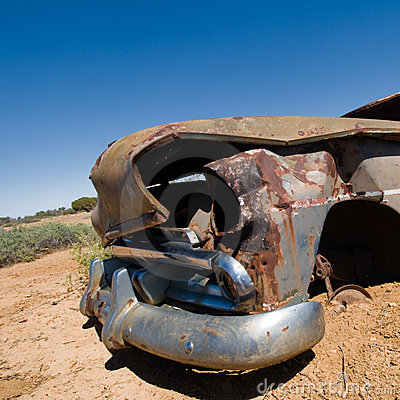 Front of old wrecked car in Outback Australia