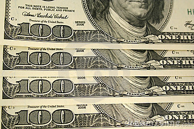 Front of a one hundred dollar bill background
