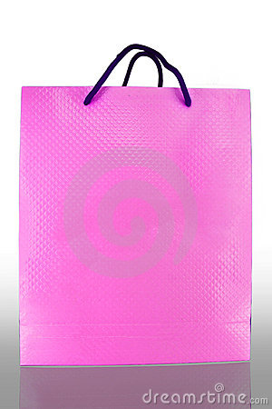 Front of pink paper Bag on reflect