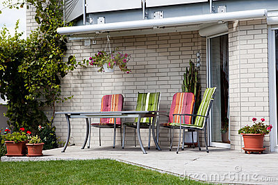 Front porch of a house with sitting area