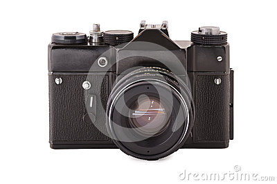 Front shot of the old film black camera