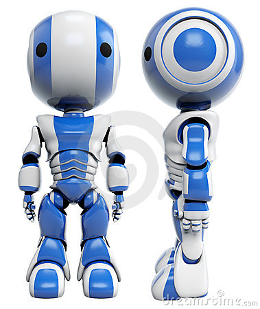 Front and side of blue robots