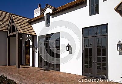 Front side of new modern desert home