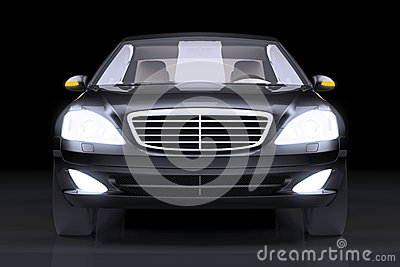 Front side view on black prestige car