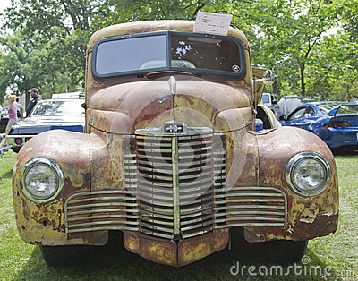 Front view of a 1948 International KB2 Truck Editorial Stock Image