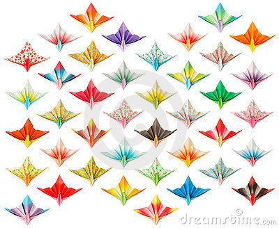 Front view of 40 Paper cranes