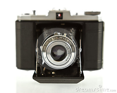 Front View of Antique Folding Medium Format Camera