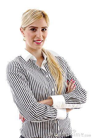 Front view of businesswoman with folded hands