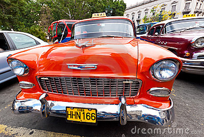 Front view of a classic Chevrolet in Havana Editorial Stock Photo