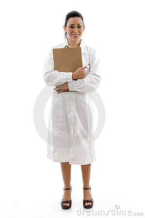 Front view of doctor holding writing pad