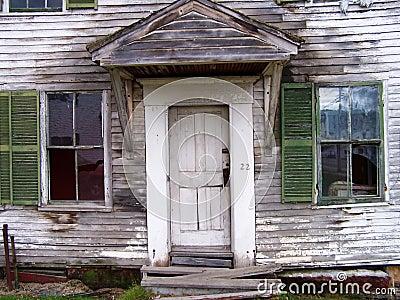 Front view of door and windows.