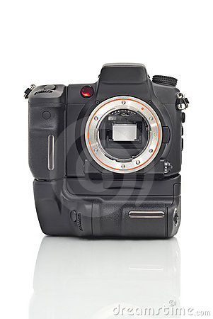 Front view of Dslr camera body with vertical grip