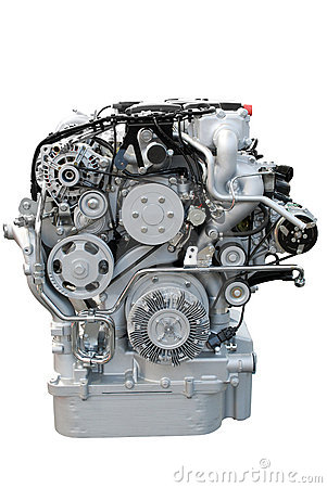 Front view of heavy truck engine isolated