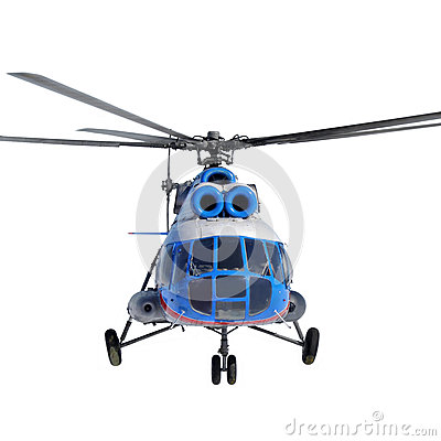 Front view of a helicopter in flight on white background