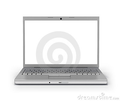 Front view laptop blank screen [Clipping Path]