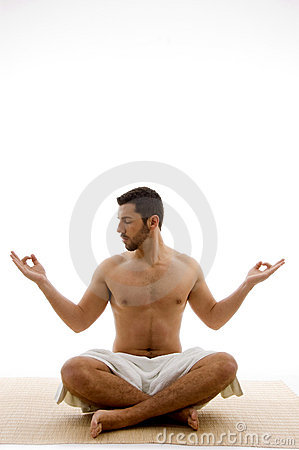Front view of man in yoga pose