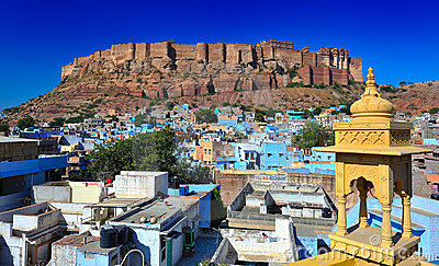 Front view of the mehrangarh fort in jodhphur