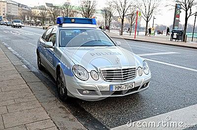 German Mercedes police car in Hamburg, Germany Editorial Image