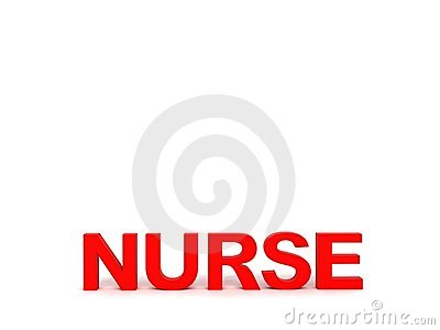 Front view of nurse word
