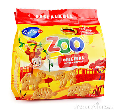 Free Front View Of Bahlsen Leibniz Zoo Original Butter Biscuits Isolated On White Stock Photos - 85407353