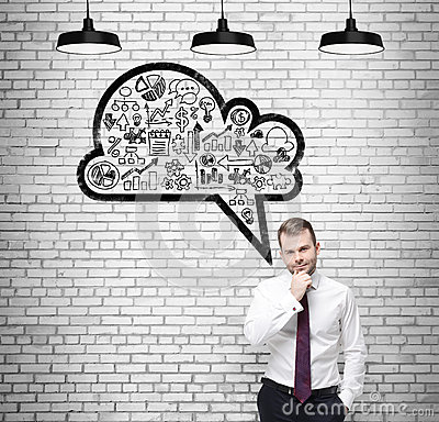 Free Front View Of The Confidenman, Student, Who Is Thinking About New Business Concepts. Drawn Cloud With Business Icons On Stock Image - 57407321
