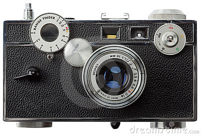 Front view of old rangefinder camera