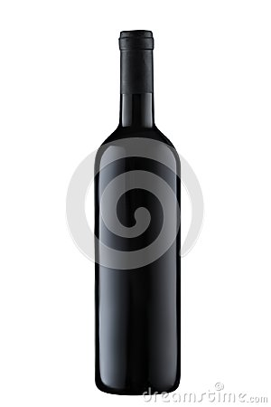 Free Front View  Red Wine Blank Bottle Isolated On White Background Stock Photography - 116154082