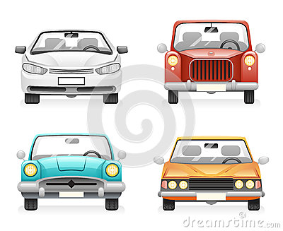 Front View Retro Modern Car Icons Set Isolated Design Transport Clipart Symbols Vector Illustration Vector Illustration